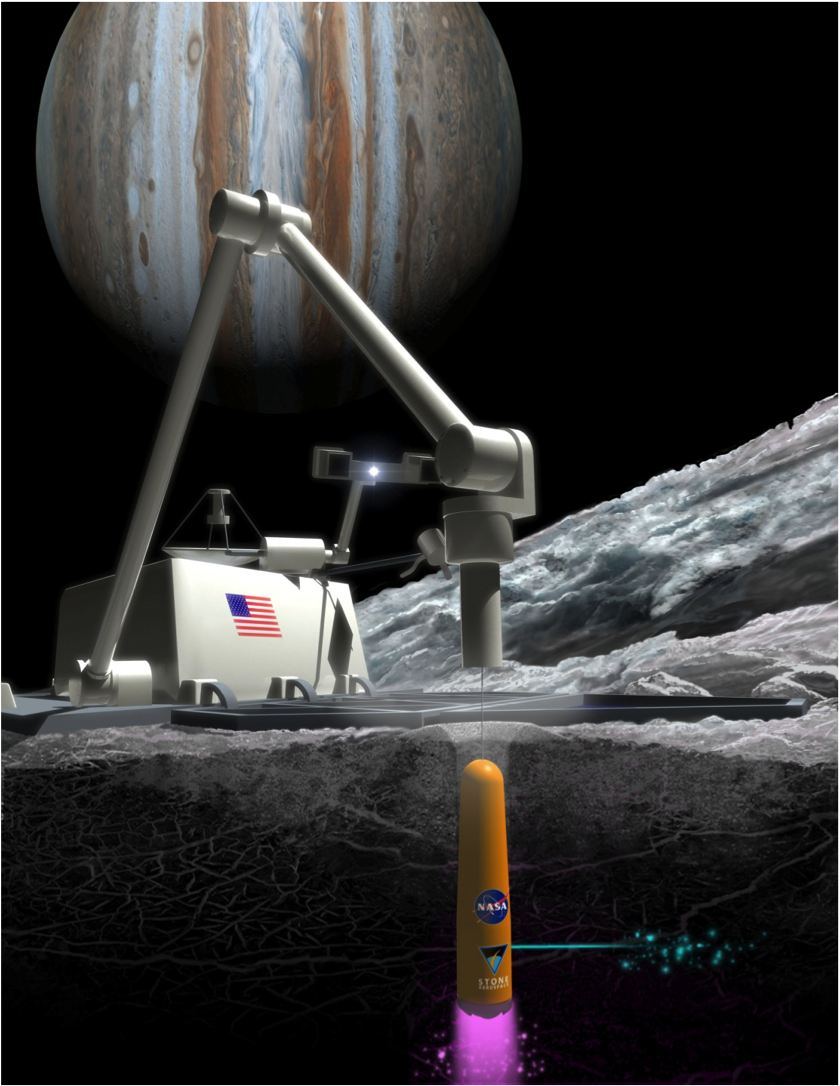 Artist's concept of the Archimedes direct laser penetrator on Europa