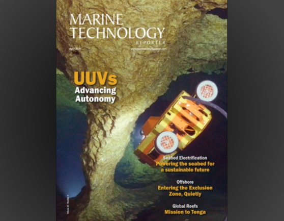 Cover of Marine Technology Reporter featuring SUNFISH® AUV